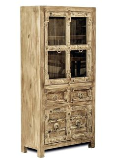 Vitrine Jaipur Recycled Altholz Massiv 9559. Buy now at https://www.moebel-wohnbar.de/vitrine-jaipur-recycled-altholz-massiv-9559.html