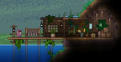 Terraria - I tried to experiment with depth effects. Turned out great I guess Terraria House Design, Terraria House Ideas, Terraria Tips, Minecraft Medieval, Minecraft Houses, Minecraft Construction, Biomes, Creature Design, Map Art