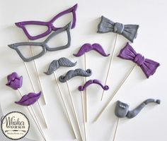 Purple and gray photo booth props that were custom designed to match wedding colors. WhiskerWorks.com
