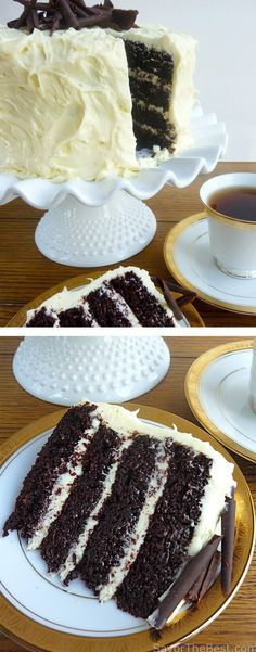 An incredibly moist and intensely chocolate cake with cream cheese frosting. #dessert