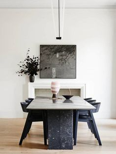 This statement dark stone modern dining table would fit perfectly in any modern dining room project. Discover more statement dining tables here. Dining Room Inspiration, Interior Design Inspiration, Design Ideas, Design Projects, Design Trends, Georgian Style Homes, Esstisch Design, Industrial Dining, Modern Industrial