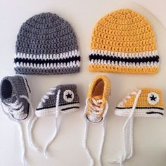 Crochet Baby Booties Crochet Converse Sneakers and Hat pattern - **PATTERN ONLY** Advanced crochet pattern Your search for the perfect Baby Beanie Crochet Baby Clothes, Crochet Baby Shoes, Crochet For Boys, Newborn Crochet, Crochet Socks, Booties Crochet, Knit Crochet, Baby Booties, Crochet Baby Blanket Beginner