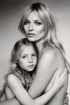 Kate Moss and daughter Lila Grace in Vogue September 2011. Recreating Calvin Klein ads of the early 90s. Beautiful and so similar