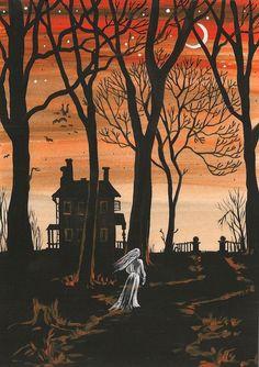 8x10  HALLOWEEN  PRINT OF PAINTING ART RYTA HAUNTED HOUSE FOLK LOST SOUL GHOST  #Halloween