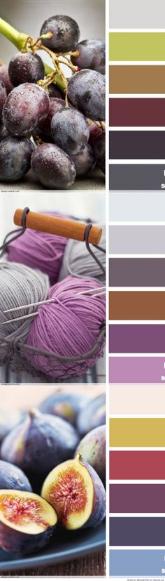 Color Palettes - purples, blues, and more. I like the 2 lower palettes