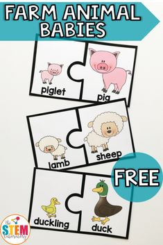 Love this adorable matching game that is perfect for a farm animal or life science unit with preschool, kindergarten or first grade this spring! activities Farm Animal Puzzles - The Stem Laboratory Farm Animals Preschool, Farm Animal Crafts, Baby Farm Animals, Preschool Crafts, Preschool Farm Theme, Farm Animals Games, Preschool Puzzles, Animal Games For Toddlers, Farm Theme Classroom