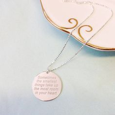Anna Lou of London Personalised Message Necklace (610 MAD) ❤ liked on Polyvore featuring jewelry, necklaces, engraved necklaces, engraved jewelry, engraving necklaces and anna lou of london