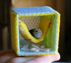 Guinea pig plush fleece miniature in hammock house von wishwithme