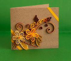 quilled card. (reminder, if you mail this, put bubble wrap over the design or it will get squished.)