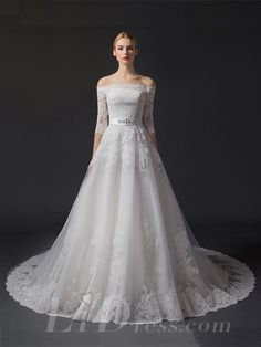 Off-the-shoulder Half Sleeves Lace Appliques A-line Wedding Dress