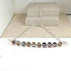 Handmade-chain-necklace-wirewrap-bar-AB-bronze-purple-faceted-crystals-20-1-2-in