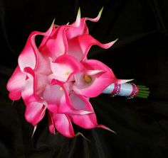 Hot Pink Calla Lily Bouquet with Pink Boutonniere, Bridal Bouquet Real Touch Hot Pink Calla Lilies, Hot Pink wedding Bouquet