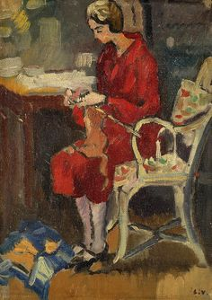Madame Valtat Knitting, 1929, by Louis Valtat.