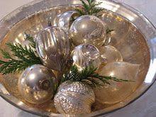 christmas balls with greens