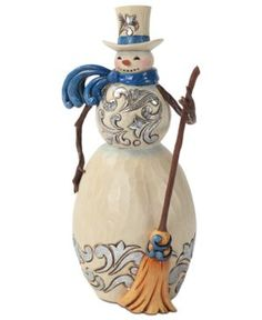 Image detail for -jim shore collectible figurine blue and silver snowman brilliant blue ...