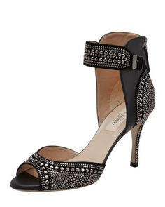 Valentino Microstudded Ankle-Wrap Sandal, Black - Bergdorf Goodman