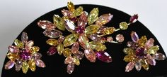 Dazzling Huge Vintage Weiss Brooch Earrings Set~Multicolor Rhinestones~Signed by TyTimelessSparkles on Etsy https://www.etsy.com/listing/205552094/dazzling-huge-vintage-weiss-brooch
