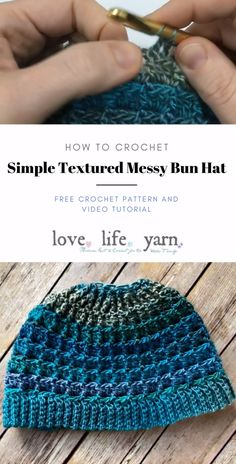 Best 9 This free crochet pattern for the Simple Textured Messy Bun Hat includes a close up video tutorial to walk you through every step of the process. Uses front post double crochet to create texture. The Red Heart Unforgettable yarn does all the color Free Knitting, Knitting Patterns, Knitting Ideas, Baby Patterns, Crochet Unique, Simple Crochet, Knitted Hats, Crochet Hats, Crochet Hat Patterns
