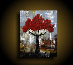Abstract Painting. Wall Art. Modern Art. Original. Contemporary Painting. Red Tree Painting Huge. 24 x 30. Blue Brown burnt orange gold on Etsy, $250.00