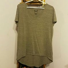 Gray high low top Gray high low top, worn once, like new condition, no tears or stains, lightweight Rue 21 Tops Tees - Short Sleeve