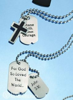 Gift idea at Things Remembered at the Colonial Park Mall, Harrisburg, Pa: Nestle a personalized set of dog tags in his Easter basket and he'll always wear his faith close to his heart! It's the perfect Easter morning gift for teens and Dads!
