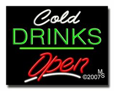 """Cold Drinks Open Neon Sign - Script Text - 24""""x31""""-ANS1500-2228-3g  31"""" Wide x 24"""" Tall x 3"""" Deep  Sign is mounted on an unbreakable black or clear Lexan backing  Top and bottom protective sides  110 volt U.L. listed transformer fits into a standard outlet  Hanging hardware & chain included  6' Power cord with standard transformer  Includes 2nd transformer for independent OPEN section control  For indoor use only  1 Year Warranty on electrical components."""