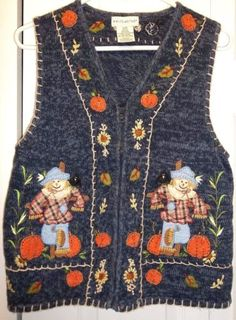 Fall-Sweater-Vest-Scarecrow-Pumpkins-Fall-Autumn-Leaves-Medium-White-Stag-Blue  #SweaterVest #Scarecrow #Fall #Pumpkins