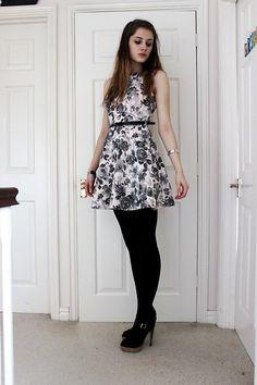 New Look Rose Print Dress, New Look Black Belt, Bead Bracelet, Silver Bangle, Black Tights, Miss Kg Heels With Cork Platforms
