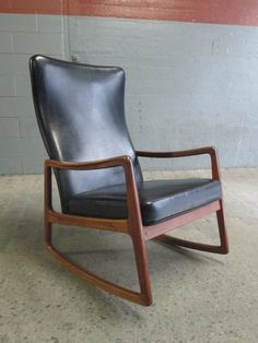 Danish Rocking Chair by Ole Wanscher for France and Son image 2 - 1st Dibs