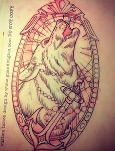 Love the wolf and the frame but I don't really get the anchor.
