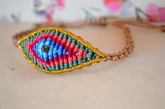 Macrame multicolored bracelet to keep all the evil eyes away from you :) !  This handcrafted macrame bracelet is made with high quality cotton