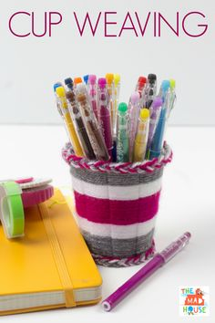 Cup weaving tutorial.  Create fab pencil pots with just cups and yarn and this simple tutorial for weaving using cups.
