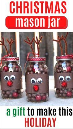 Christmas Candy Crafts, Christmas Jar Gifts, Christmas Mason Jars, Christmas Gift Decorations, Christmas Wood, Holiday Crafts, Christmas Holidays, Diy 1st Christmas Ornaments, Christmas Decor For Kitchen