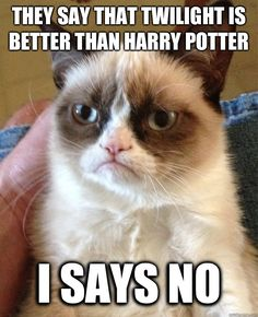 Grumpy Cat Harry Potter | Grumpy Cat - They say that Twilight is better than Harry Potter I says ...