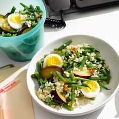 Egg and Rice Salad to Go | MyRecipes.com. This Egg and Rice Salad is a perfect healthy lunch on-the-go and can be made in minutes. #healthyyouapproved