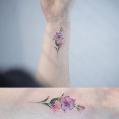Single line flower tattoo .