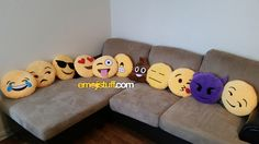 Look at all these emoji pillows!!!!