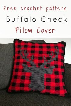 Wow! What a cute buffalo check crochet pillow cover. Get in the holiday spirit with this free crochet pattern. Plaid plus a stag – couldn�t get any trendier. #RHSS #CrochetChristmas #ChristmasDecor