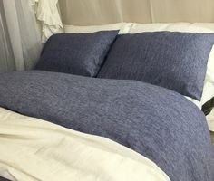 DENIM BLUE Chambray Duvet Cover hanmade in Natural Linen, Blue Bedding, Custom Bedding, Linen Bedding, Queen Duvet Cover, King Duvet Cover, Twin Duvet Cover, Full Duvet Cover, FREE SHIPPING. Inspired by classic mid-century work-wear, this linen chambray bedding is uniquely woven from white and denim blue linen yarn to create denim blue jean casual appearance, then washed and weathered to produce the softness and faded appeal of broken-in vintage chambray. This linen comforter will keep…