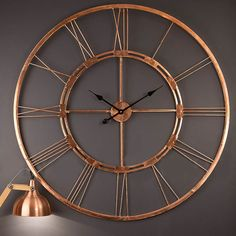 100% Copper Handmade Extra Large 40 inches Diameter Wall Clock Decorative hanging wall sculpture art