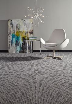 Rhythm in the Brio pattern and Aria colorway. #Milliken #modularcarpet