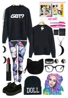 """Got7"" by skittlebum ❤ liked on Polyvore featuring Pilot, Julio, Forever 21, Accessorize, Carolina Glamour Collection and NARS Cosmetics"