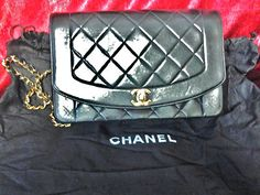 Chanel Handbag Black Leather Quilted Sexy Gold Chain Shoulder Strap Hot Buy