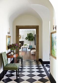 When we first viewed our current apartment in New York City, our real estate broker was quick to tell us that the black and white checkered floor in the apartment's foyer would be replaced with wood before we moved in. I guess she thought the. Bureau Design, Flur Design, Checkered Floors, Black And White Tiles, White Marble, Black White, Hallway Designs, Hallway Ideas, Floor Decor