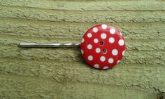 Dotty Button Hairgrip by WinterandDeanCrafts on Etsy