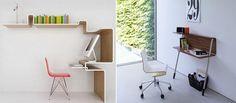 Mesas de computador para pequenos espaços.