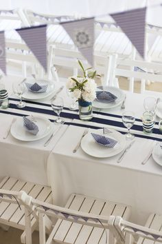 all white party Nautical Baptism Party Table! See more party planning ideas at ! Nautical Baptism, Nautical Party, Nautical Wedding, Diy Wedding, Wedding Favors, Baby Shower Decorations For Boys, Baby Shower Themes, Table Decorations, Shower Ideas