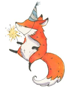"unframed, 4x6"" print, Little Fox, Party, Nursery, Art by genevrabell on Etsy https://www.etsy.com/listing/267509337/unframed-4x6-print-little-fox-party"