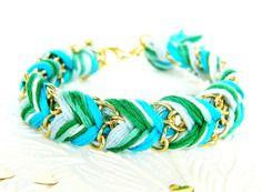 Frosted Mint - Bright Skies, Green Swirl, & Neon Turquoise - Chevron Braided Modern Friendship Bracelet - Gold Chain