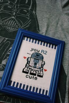 Framed R2D2 Starwars  Cross Stitch You R2 Cute by nessistitches